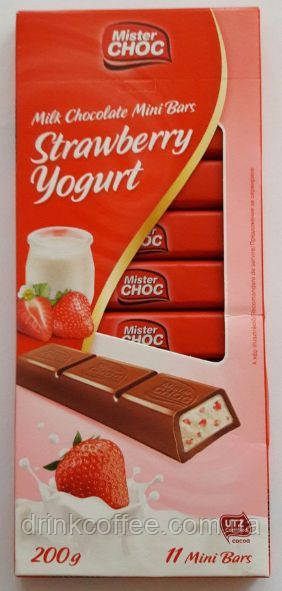 Шоколад Mister Choc Strawberry Yogurt, Германия, 200 г