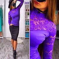 Костюм женский блуза с кружевом и облегающая юбка с карманами разные цвета Ks63