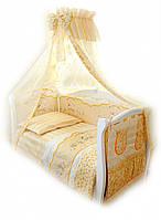 Детский постельный комплект Twins Comfort С-023 Зайчики на полосках, желтый