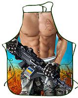 """Чоловічий фартух з приколом """"Український солдат""""."""
