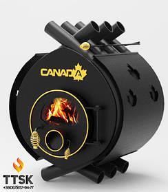 Дровяная печь калориферная «Canada» classic «ОO» со стеклом и перфорацией