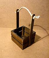 Ящик деревянный с ручкой под цветы (кашпо), коричневый, 16,5х15х27 см, фото 1