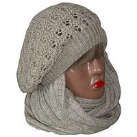 Вязаная женская шапка - берет и вязаный шарф - снуд