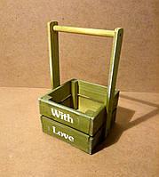 Ящик деревянный с ручкой под цветы (кашпо), салатовый, 16,5х15х27 см, фото 1