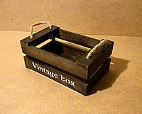 Ящик деревянный с ручками под цветы, коричневый, 20х13х10,7 см
