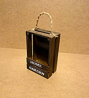 Ящик деревянный с ручкой под цветы, коричневый, 13х10,7х20 см