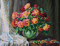 Схема для вышивки бисером POINT ART Розы возле окна, размер 30х23 см