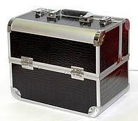 Алюминиевый кейс для косметики с полочками , цвет- черный крокодил