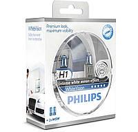 Лампа галогенная Philips WhiteVision H1 +60% Германия 12258WHVSM  (12V 55W ) + подарок