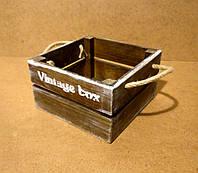 Ящик деревянный с ручками под цветы, коричневый, 18х18х10 см, фото 1