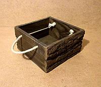 Ящик деревянный с ручками под цветы, коричневый, 20х20х11 см