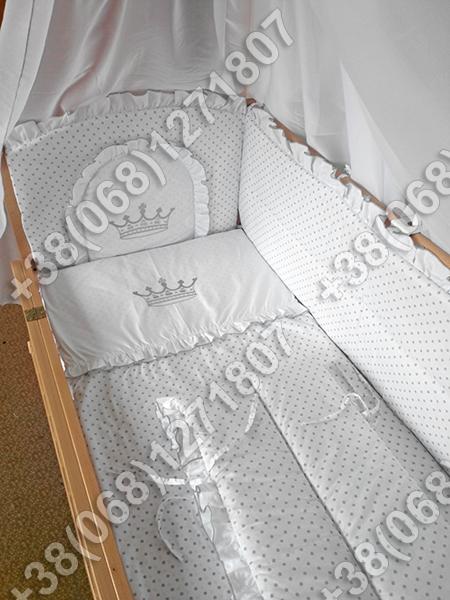 Детское постельное белье в кроватку с вышивкой Корона, комплект 7 ед. - Интернет-магазин «Vilena» в Киеве