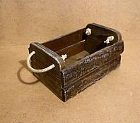 Ящик-кашпо из коры дерева с ручками, коричневый, 25х17х13 см
