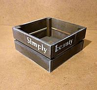 Ящик деревянный под цветы, серый, 20х20х10 см, фото 1