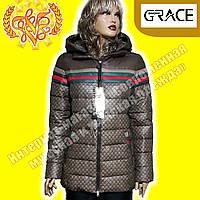 Женские пуховики Snow Grace 395 brown