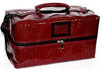 Профессиональный кейс для косметики с вынимающимся органайзером. Цвет - бордовый
