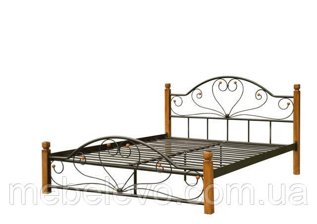 Кровать полуторная Джоконда на деревянных ногах 140 Металл-дизайн