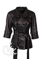 Черная кожаная куртка с отстежными рукавами