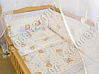 Защита бортик из 4 частей в детскую кроватку для новорожденных (мишка на месяце бежевый)