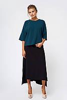 Теплая шерстяная юбка ассиметричная черная