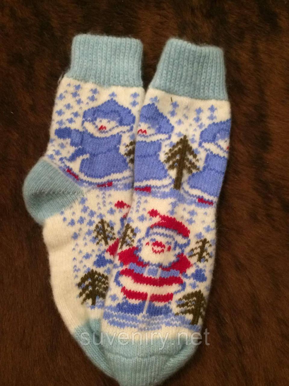 Женские ангоровые носки новогодние