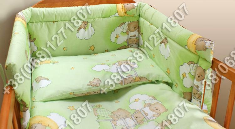 Бортики в детскую кроватку защита со съемными чехлами Мишки на лесенке салатовые