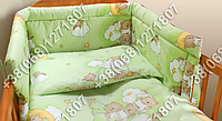 Защита бортик из 4 частей в детскую кроватку для новорожденных (мишки на лесенке салатовый)