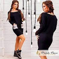 Черное цельнокройное платье, натуральный мех . Арт.- 8601/72