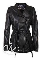 Черная кожаная куртка длинная