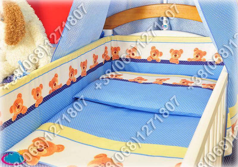 Бортики в детскую кроватку защита со съемными чехлами Мишка точка голубой