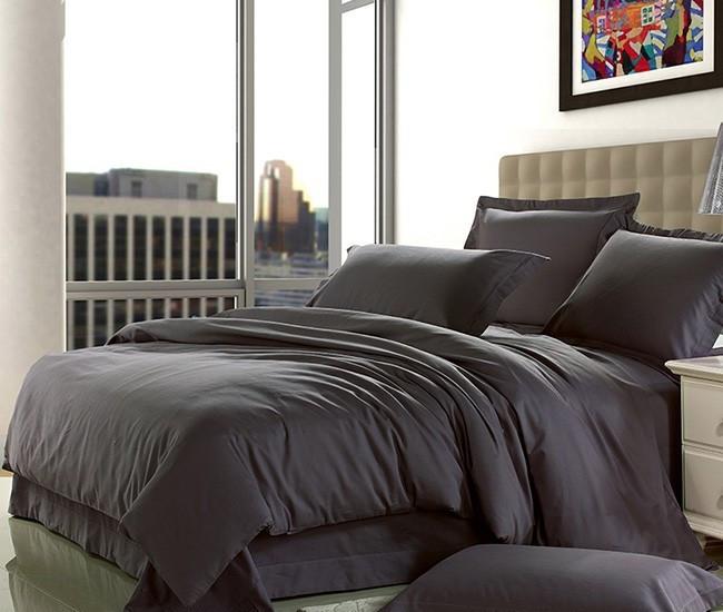 Комплект постельного белья двуспальный, сатин Dark Grey
