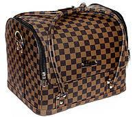"""Сумка-чемодан с выдвижными полочками,цвет-""""коричневая клетка"""".Размеры 30х25х23"""