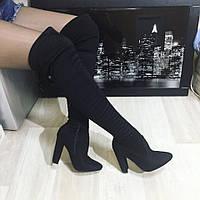 Ботфорты женские ,черные  каблук