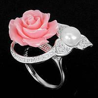 Кольцо с натуральным жемчугом, W-CZ Роза