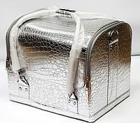Сумка-Чемодан с полочками для косметики,серебро