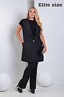Женский модный костюм больших размеров: удлиненный жилет и брюки (6 цветов)