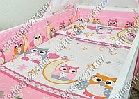 Защита бортик из 4 частей в детскую кроватку для новорожденных (сова розовый)