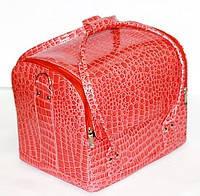 Сумка-чемодан для косметики с внутренними полочками, коралловый.