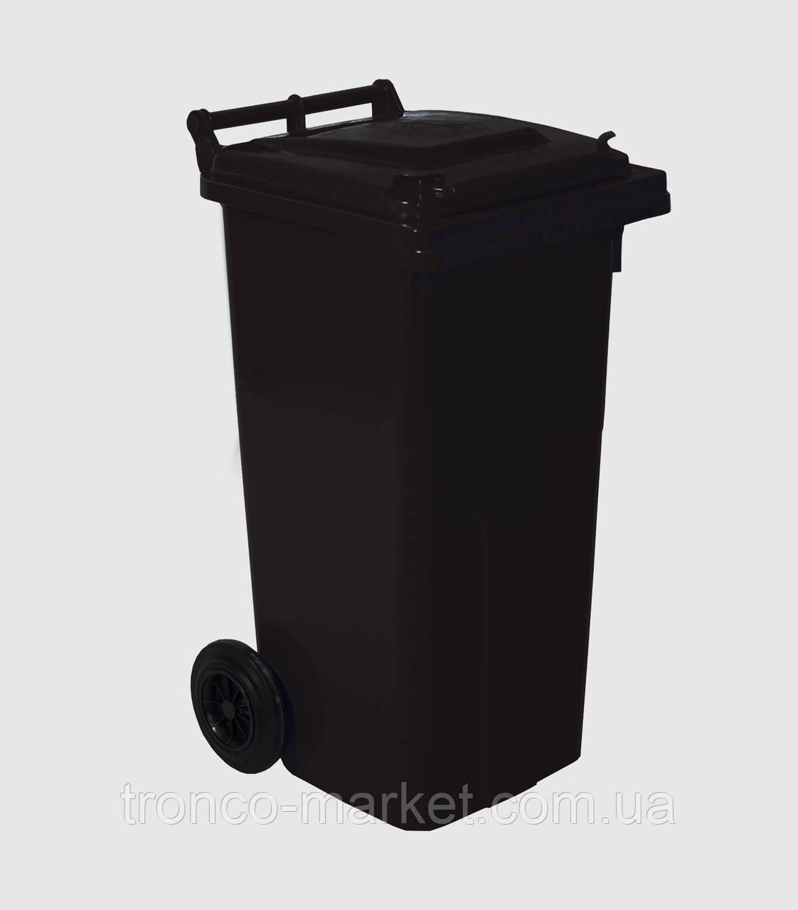 Контейнер для мусора на колесах 120л чёрный