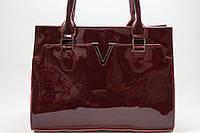 Стильная сумка из натуральной лаковой кожи цвет марсала