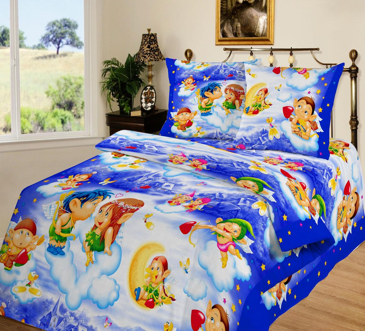 a0d6b4dd5f2e Постельное белье для детей, Амуры поплин, подростковое полуторное постельное  белье
