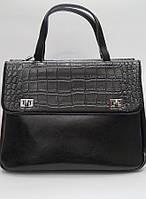 Черная стильная сумка-портфель из натуральной кожи