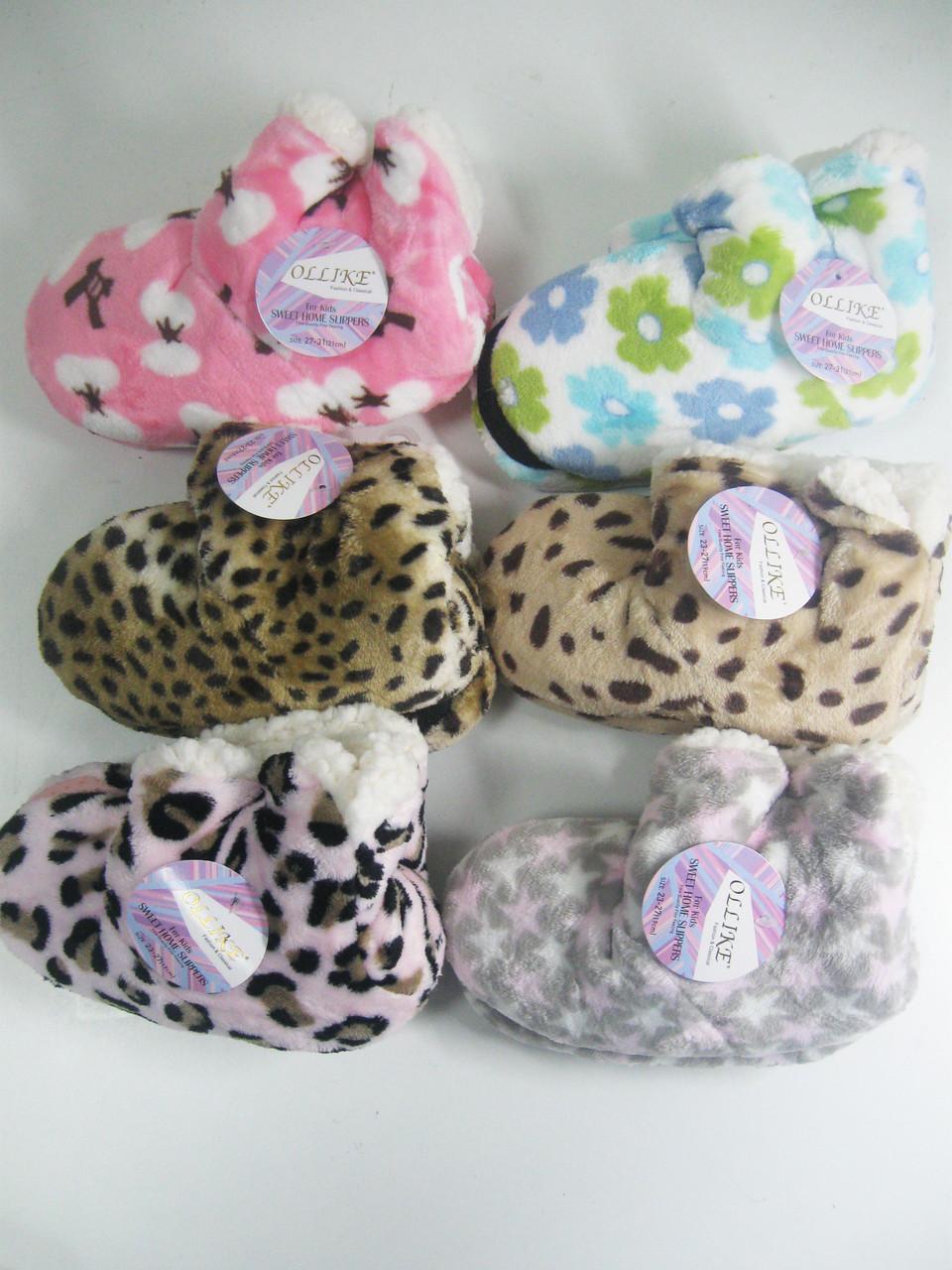 Тапочки- угги домашние на меховой подкладке для девочек, Ollike, размеры 23/27,27/31,31/35, арт. 302