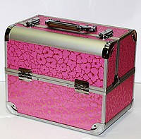 Чемодан для косметики с полочками,розовый