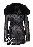 Кожаная куртка длинная с мехом кролика