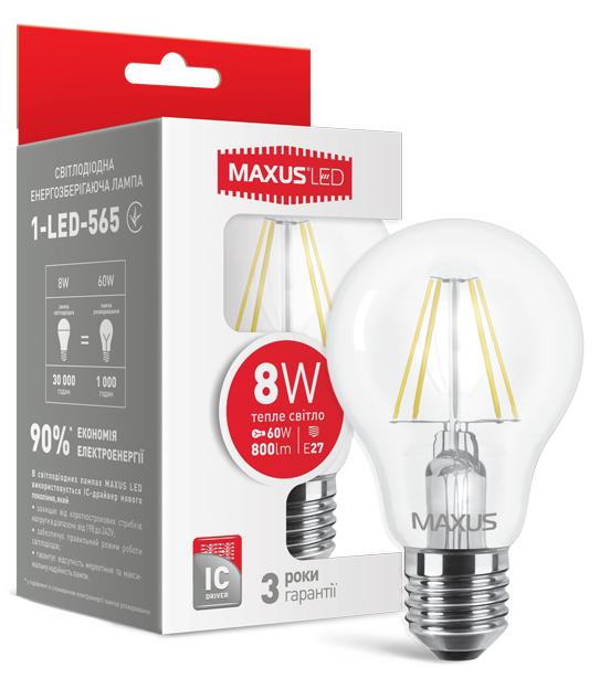 LED лампа Maxus (филамент) A60 8W Мягкий свет  220V Е 27