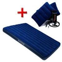Надувной двух спальный матрас Intex  для туризма рыбалки с подушками и насосом 203х152х22см