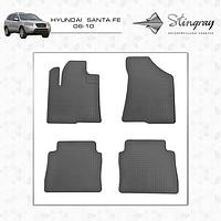 "Ковры в салон Hyundai Santa Fe 2006-2013 ""STINGREY"" черн. (4шт/комп)"