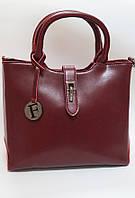 Стильная сумка из натуральной кожи цвет марсала