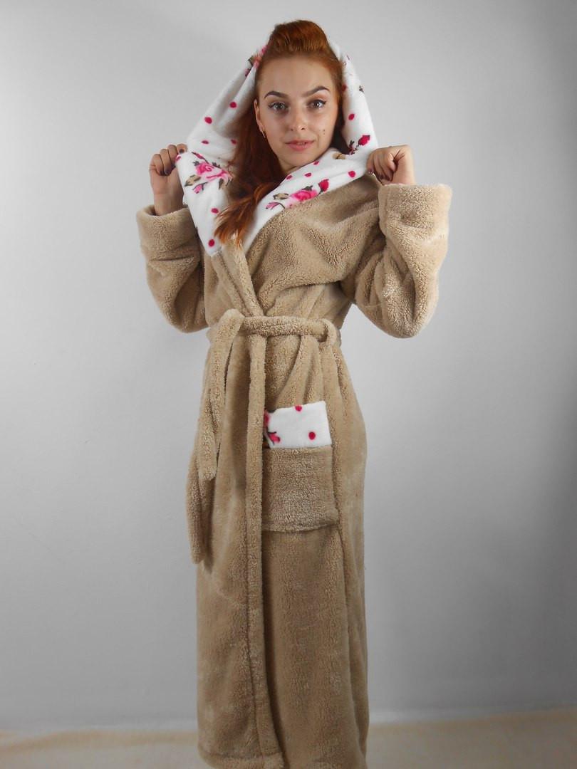 c97ea9b5d821 Мягкий длинный бежевый махровый халат с капюшоном, цена 780 грн., купить в  Одессе — Prom.ua (ID#391973002)